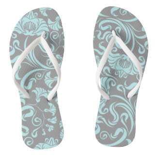 Blue Gray Vintage Floral Pattern Women Flip Flop