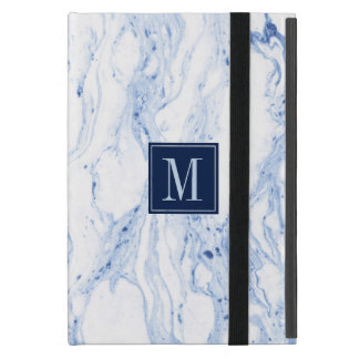 Blue-Gray & White marble Swirls Cover For iPad Mini