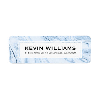 Blue-Gray & White Modern Marble Swirls Return Address Label