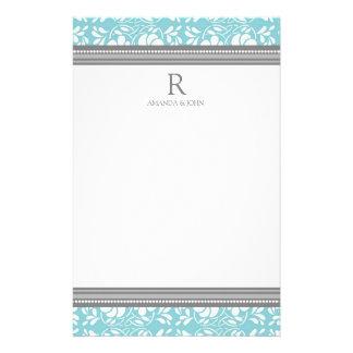 Blue Gray White Wedding Monogram Stationery