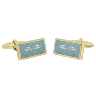 Blue-gray wings gold finish cufflinks