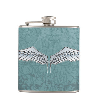 Blue-gray wings hip flask