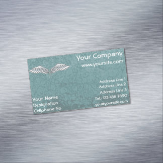 Blue-gray wings magnetic business cards