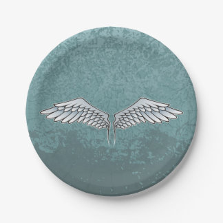 Blue-gray wings paper plate