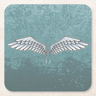 Blue-gray wings square paper coaster