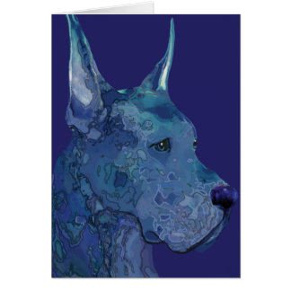 Blue Great Dane in Batik Greeting Card