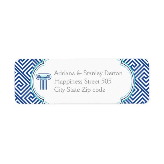 Blue Greek key and column Grecian wedding Return Address Label