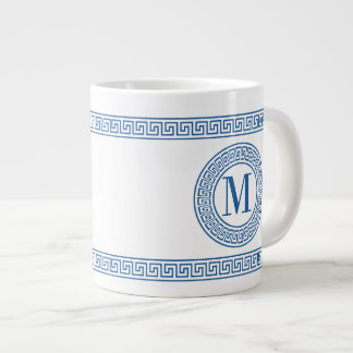 Blue Greek Key Monogram Jumbo Mugs