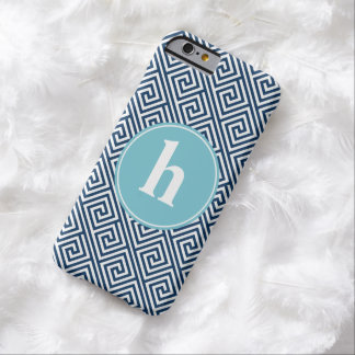 Blue Greek Key Pattern Monogram Barely There iPhone 6 Case