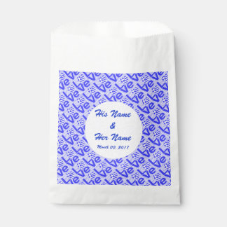 Blue Greek LOVE on Light Blue Squiggly Squares Favour Bag