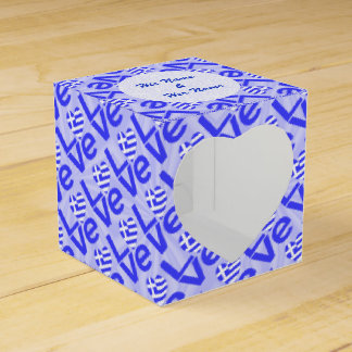 Blue Greek LOVE on Light Blue Squiggly Squares Favour Box