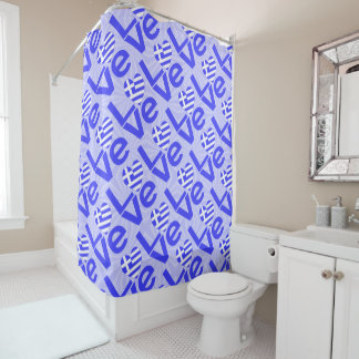 Blue Greek LOVE on Light Blue Squiggly Squares Shower Curtain