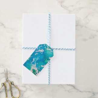 blue green abstract gift tags