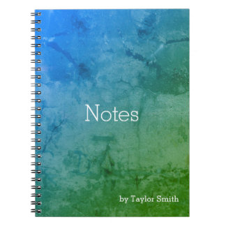 Blue Green Abstract Grunge Notebooks