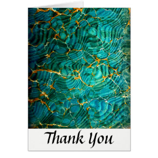 Blue Green Abstract Marble Thank You Card