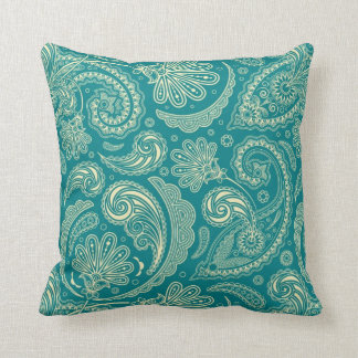 Blue-Green And Beige Creme Vintage Paisley Cushion