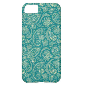 Blue-Green And Beige Creme Vintage Paisley iPhone 5C Case