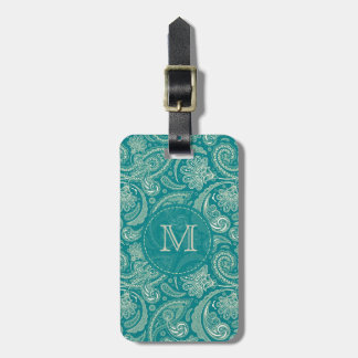 Blue-Green And Beige Creme Vintage Paisley Luggage Tag