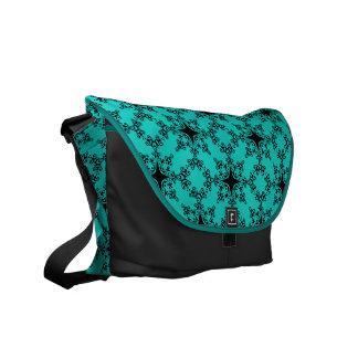 blue green and black damask messenger bag