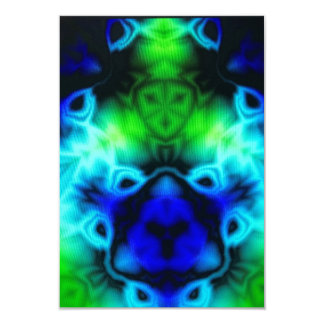 Blue Green and black kaleidoscope image Card
