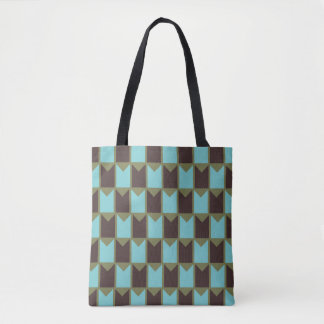 Blue Green and Brown Checked Pattern Tote Bag
