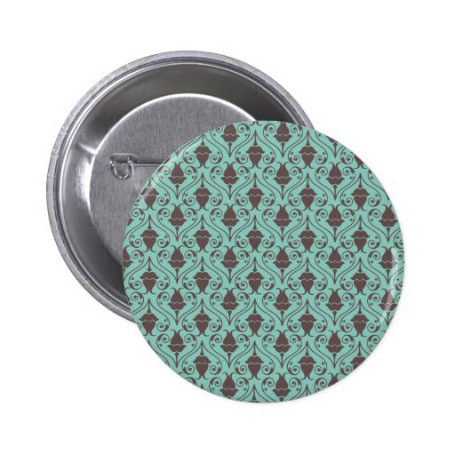 Blue-Green and Brown Fuchsia Floral Damask Pattern Pinback Button