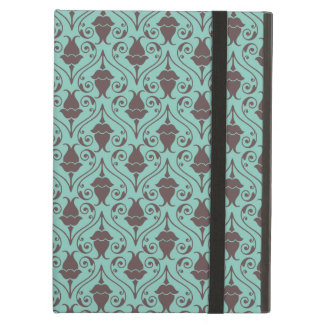 Blue-Green and Brown Fuchsia Floral Damask Pattern Cover For iPad Air