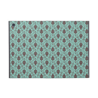 Blue-Green and Brown Fuchsia Floral Damask Pattern iPad Mini Cases