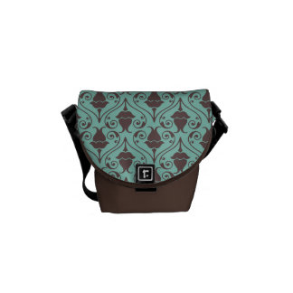 Blue-Green and Brown Fuchsia Floral Damask Pattern Messenger Bag