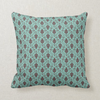 Blue-Green and Brown Fuchsia Floral Damask Pattern Throw Cushions