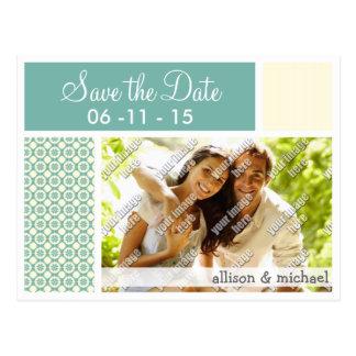 Blue-Green and Cream Floral; Cute Postcard