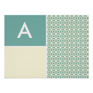 Blue-Green and Cream Floral Cute Posters