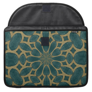 blue-green and gold pattern Macbook Pro sleeve