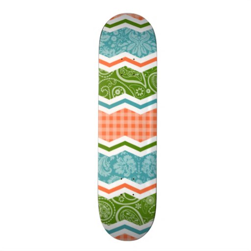 Blue, Green, and Orange Country Patterns Custom Skate Board