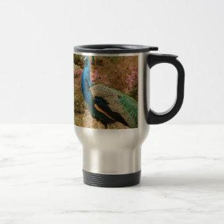 Blue Green and Orange Peacock Travel Mug