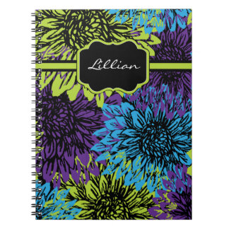 Blue, Green and Purple Floral Notebook