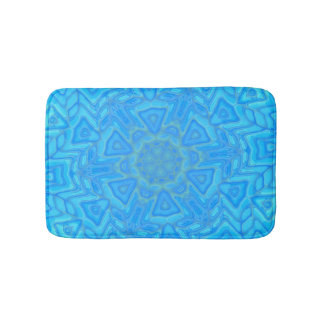 Blue Green and Turquoise Abstract Ice Flower Bath Mats