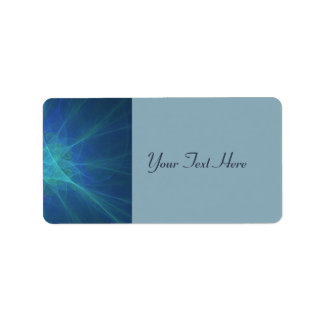 Blue, Green, And Turquoise Fractal Address Label