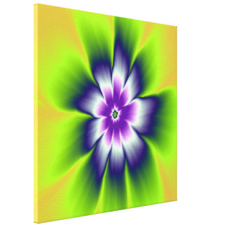 Blue Green and Violet Daisy Flower Canvas Print