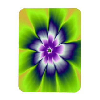 Blue Green and Violet Daisy Flower Rectangular Photo Magnet
