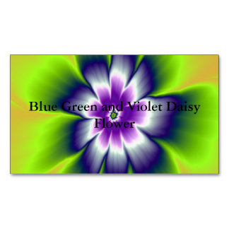 Blue Green and Violet Daisy Flower Magnetic Business Cards