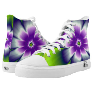 Blue Green and Violet Daisy Flower Printed Shoes