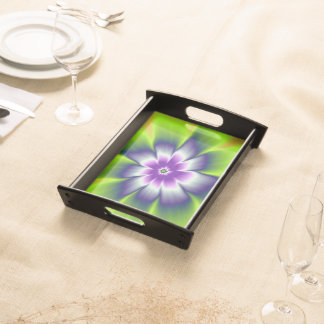 Blue Green and Violet Daisy Flower Serving Platter