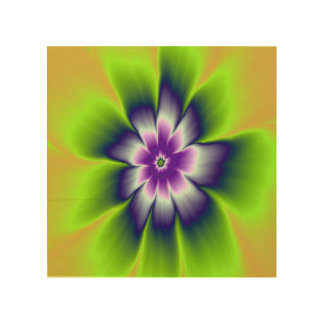 Blue Green and Violet Daisy Flower Wood Canvases