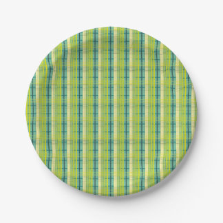 blue, green and yellow bells plaid pattern paper plate