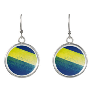 Blue, Green and Yellow Paint Effect Earrings