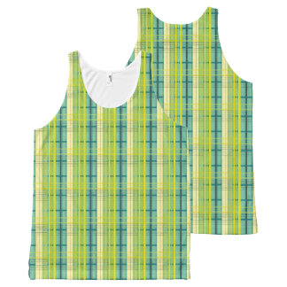 blue, green and yellow plaid pattern All-Over print singlet