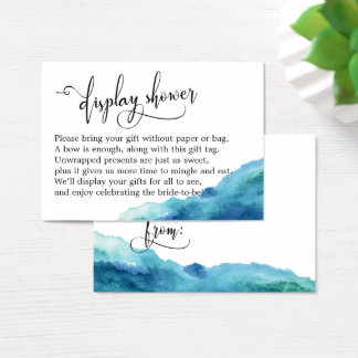 Blue Green Aqua Watercolor Display Shower Card