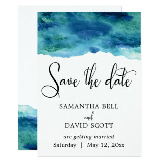 Blue Green Aqua Watercolor Modern Save the Date 1 Card