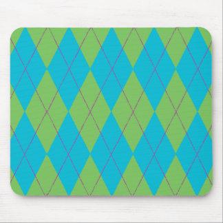 Blue & Green Argyle Mouse Pad